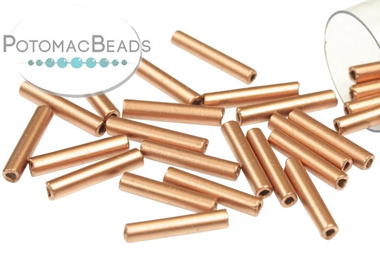 Czech Bugle Beads - Crystal Bronze Copper 12mm