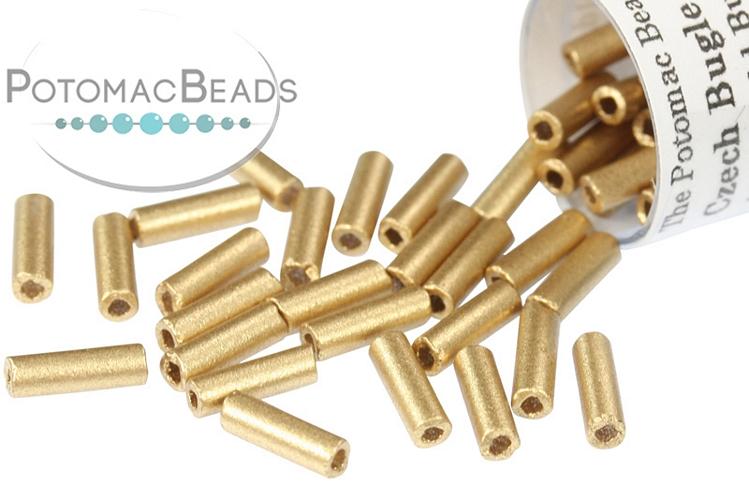 Czech Bugle Beads - Aztec Gold 7mm