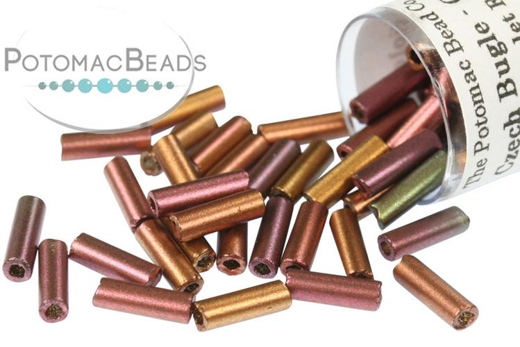 Czech Bugle Beads - Crystal Violet Rainbow 7mm