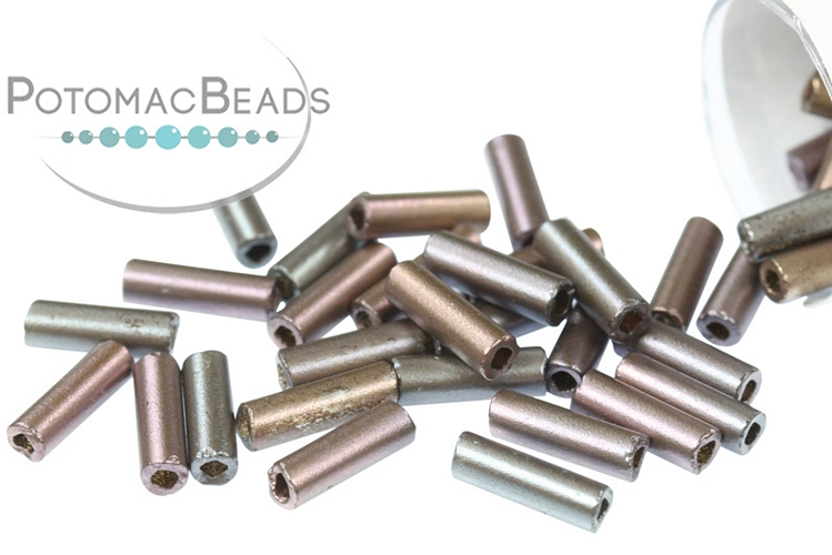Czech Bugle Beads - Crystal Grey Rainbow 7mm