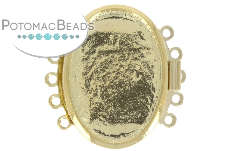 Claspgarten Clasp Bezel 28x21mm 5-Strand Gold (23kt Gold Plated), holds 18x25mm cabochon