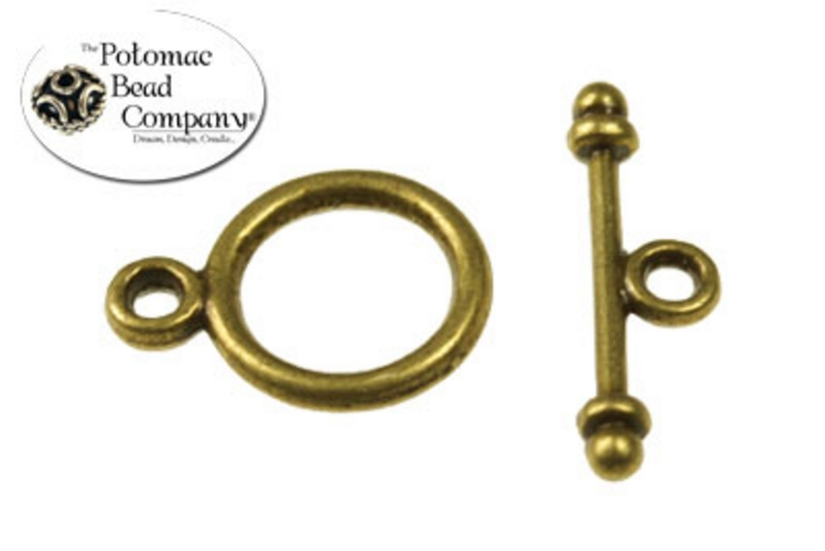 Pewter Toggle - Small Round Antique Brass