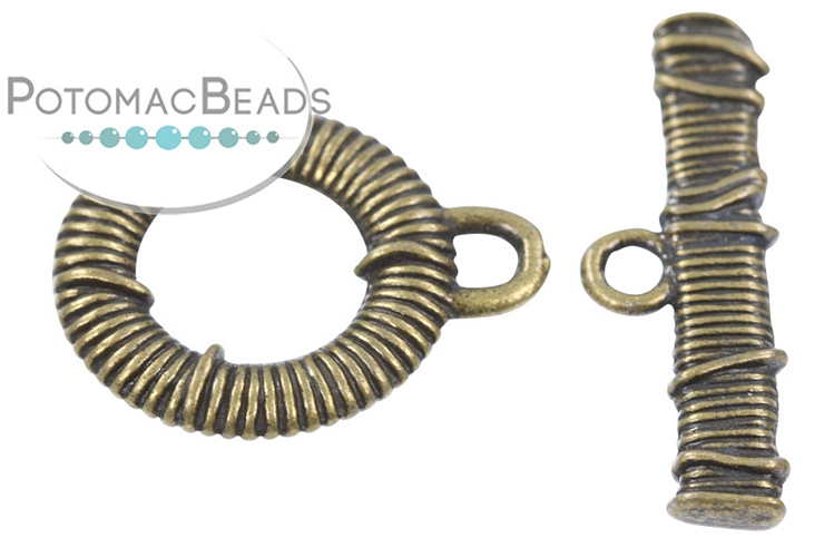 Pewter Toggle - Thatched Antique Brass