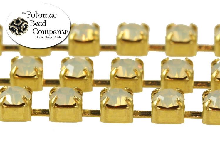 Cup Chain - White Opal Brass (per inch)