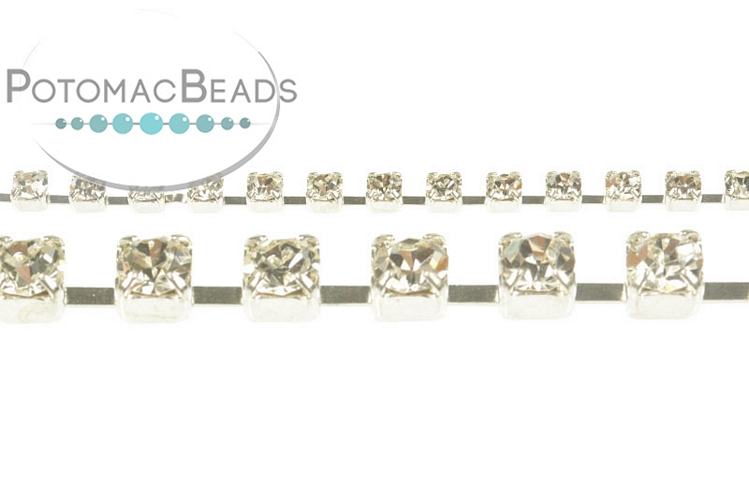 Cup Chain - Silver Crystal SS8 (per inch)