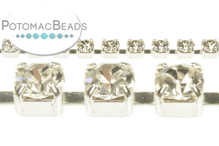 Cup Chain - Silver Crystal SS18 4.3mm (per inch)
