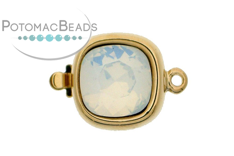 Claspgarten Clasp Square White Opal Crystal 1-Strand Gold (Rhodium Plated)