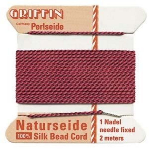 Silk Cord w/ Needle - 6 Garnet