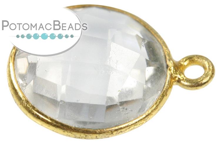 Bezeled Gemstone - Quartz 13x16mm Coin Gold Plated Drop