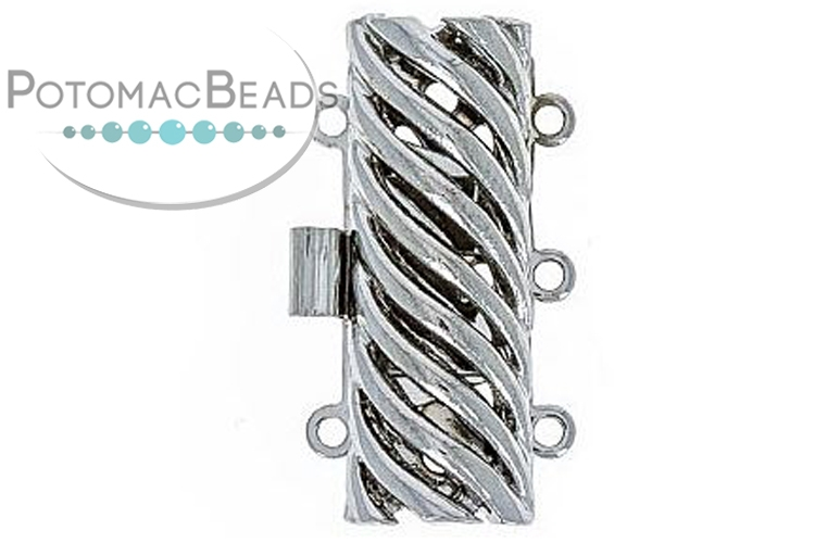 Claspgarten Clasp Rectangle Waves 12x23mm 3-Strand Silver (Rhodium Plated)