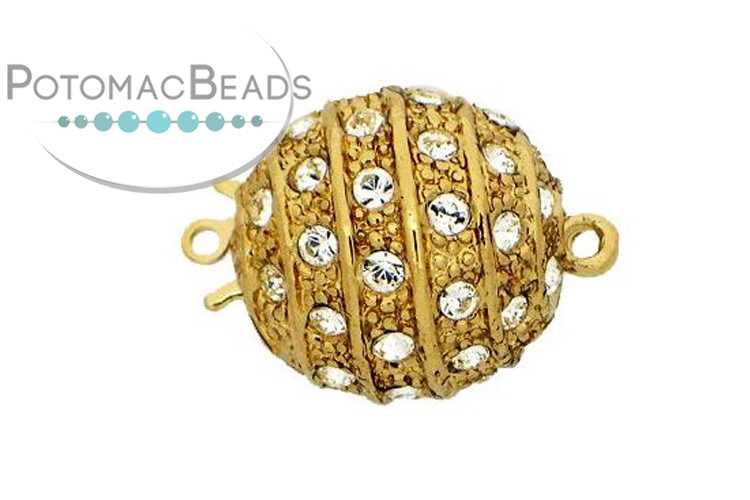 Claspgarten Clasp Magnetic Ball 16mm with crystals Gold (23kt Gold Plated)