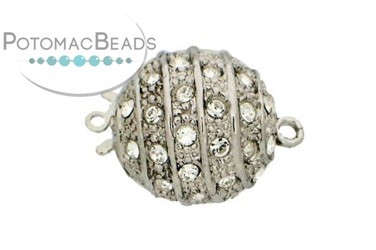 Claspgarten Clasp Magnetic Ball 16mm with crystals Silver (Rhodium Plated)