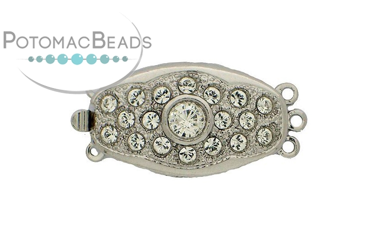Claspgarten Clasp Oval 26x15mm with crystals Silver (Rhodium Plated)