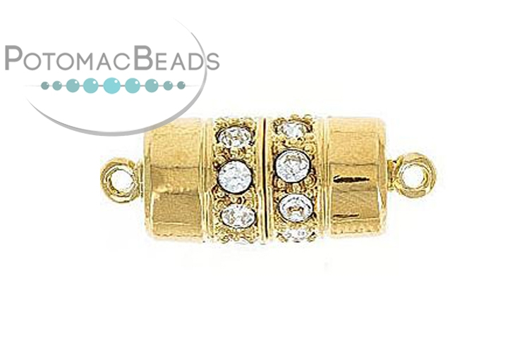 Claspgarten Clasp Cylinder 18x9m with crystals Gold (23kt Gold Plated)