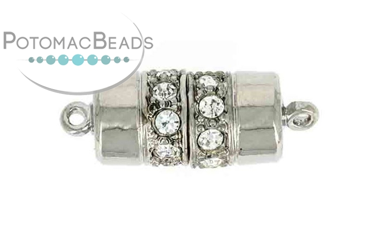 Claspgarten Clasp Cylinder 18x9m with crystals Silver (Rhodium Plated)