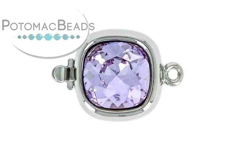 Claspgarten Clasp Square Violet Crystal 1-Strand Silver (Rhodium Plated)