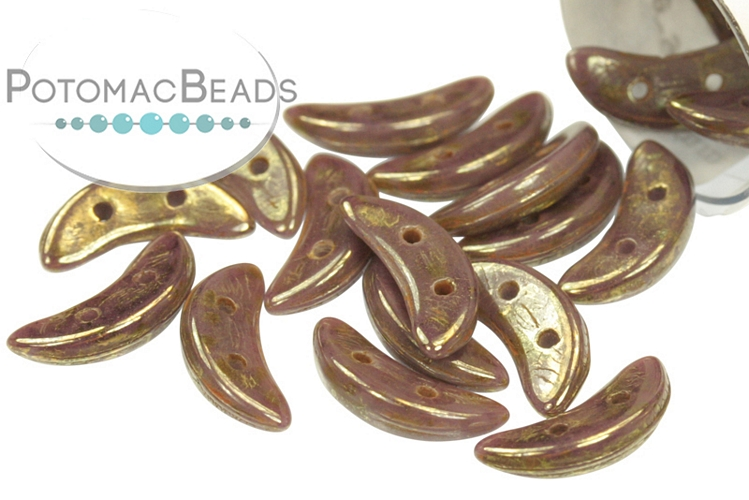 Crescent Beads - Opaque Purple Bronze Picasso 3x10mm