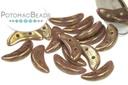 Crescent Beads - Opaque Purple Bronze Picasso 3x10mm