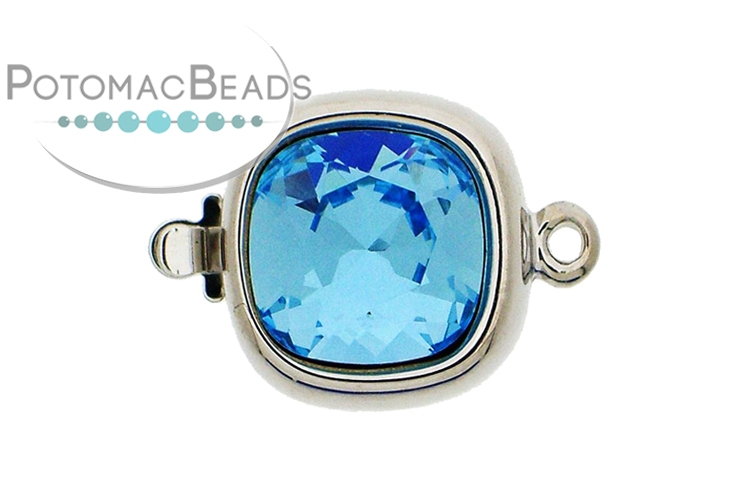 Claspgarten Clasp Square Aquamarine Crystal 1-Strand Silver (Rhodium Plated)
