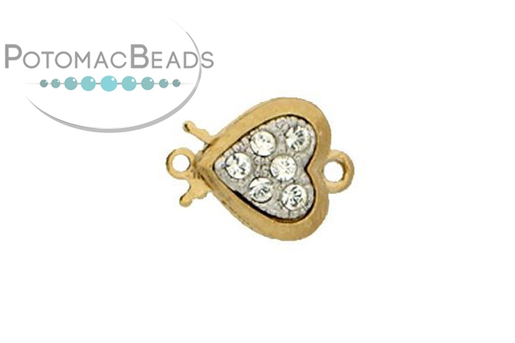 Claspgarten Clasp Heart 10mm with crystals Gold (23kt Gold Plated)