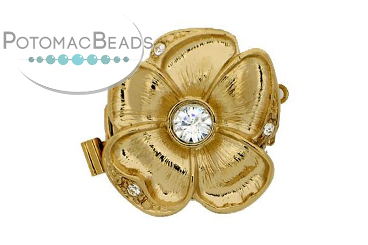 Claspgarten Clasp Flower 22mm with crystal Gold (23kt Gold Plated)