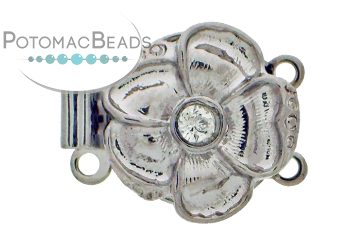 Claspgarten Clasp Flower 13mm 2-Strand with crystal Silver (Rhodium Plated)
