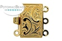 Claspgarten Clasp Rect Flourish 12x8mm 3-Strand Gold (23kt Gold Plated)