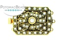 Claspgarten Clasp Rect Filigree 3-Strand with crystals Gold (23kt Gold Plated)