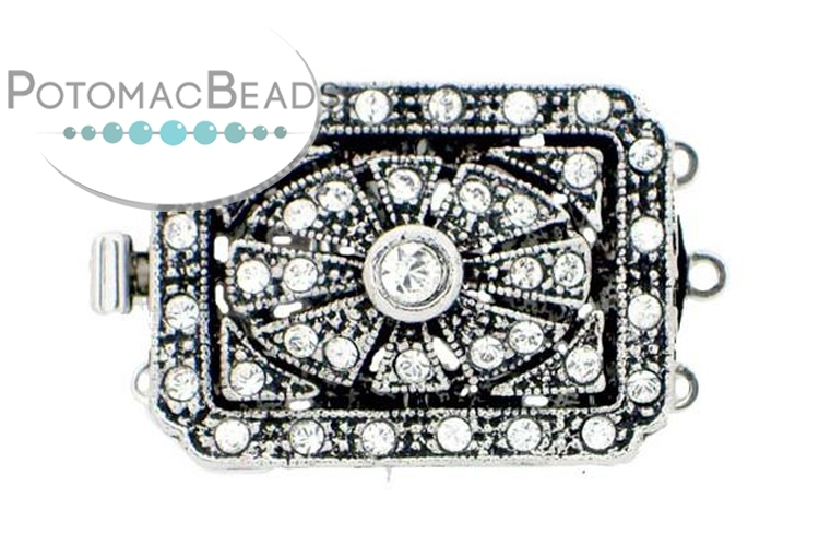 Claspgarten Clasp Rect Filigree 3-Strand with crystals Silver (Rhodium Plated)