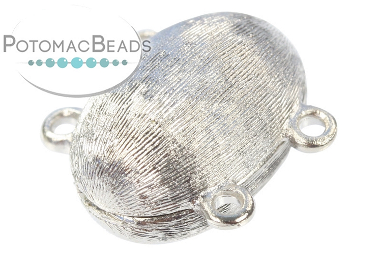 Claspgarten Clasp Brushed Oval Magnetic 2-Strand Silver (Rhodium Plated) Magnetic