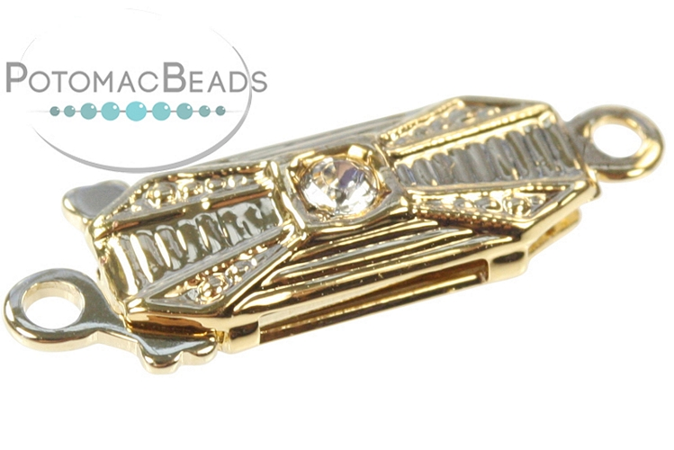 Claspgarten Clasp Ridge 1 Crystal 1-Strand Gold (23kt Gold Plated)