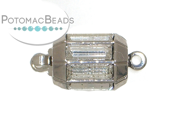 Claspgarten Clasp Lamp Light 1-Strand Silver (Rhodium Plated) with Swarovski crystals