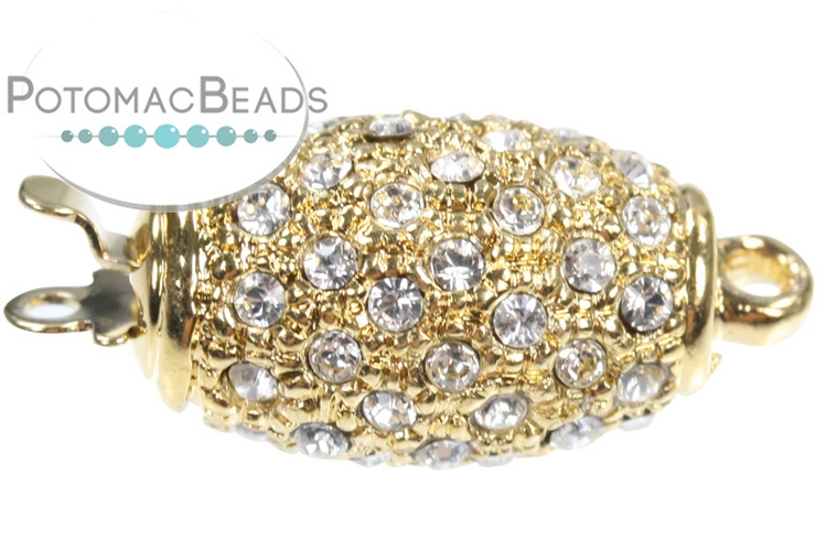 Claspgarten Clasp Crystal Olive 1-loop Gold (23kt Gold Plated)