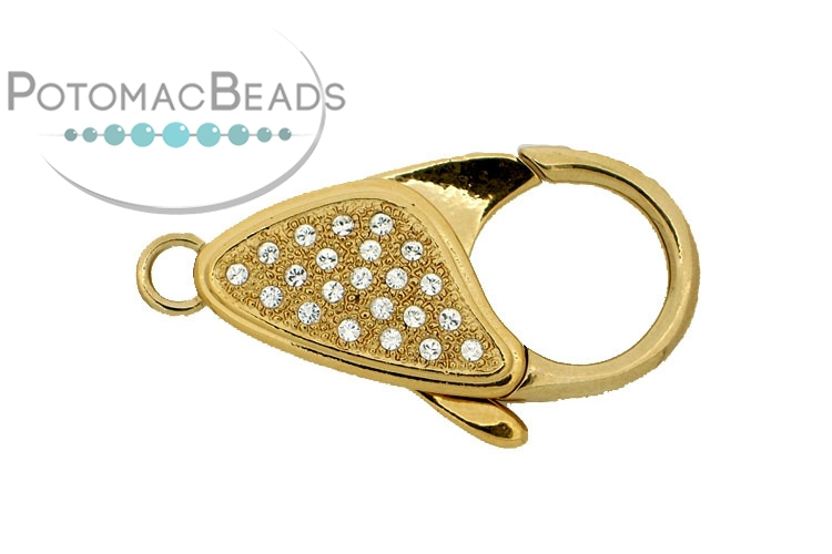 Claspgarten Clasp Lobster Clasp Crystals Gold (23kt Gold Plated)