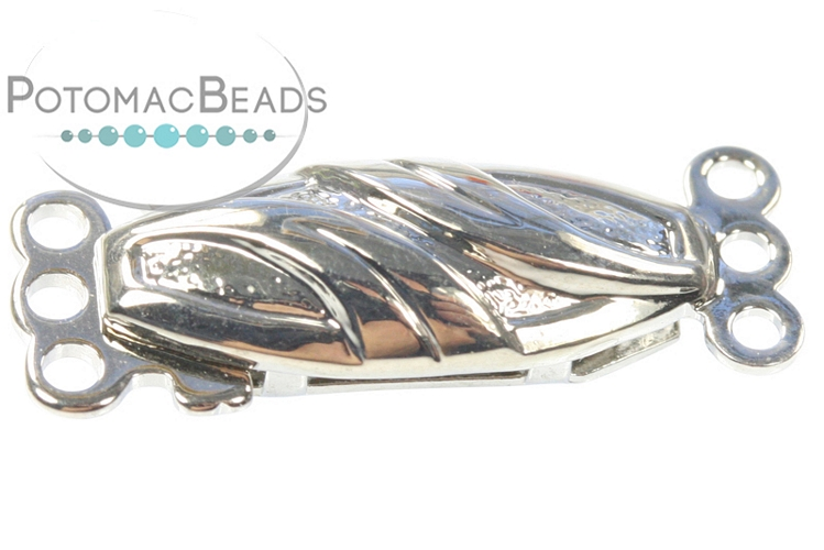 Claspgarten Clasp Ribbon Oval 3-loop Silver (Rhodium Plated)