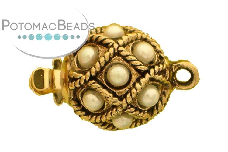 Claspgarten Clasp Netted Pearl Round 10.5mm (Tin Plated)