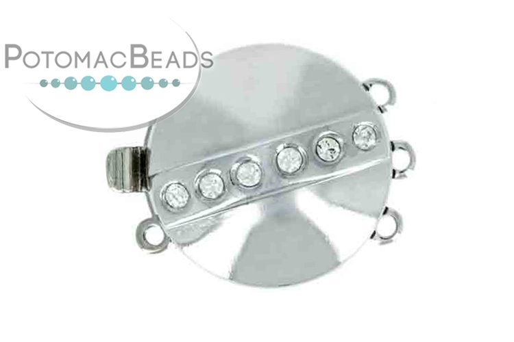 Claspgarten Clasp Silver Plated Crossed Crystal Disc 2-loop Silver (Rhodium Plated)