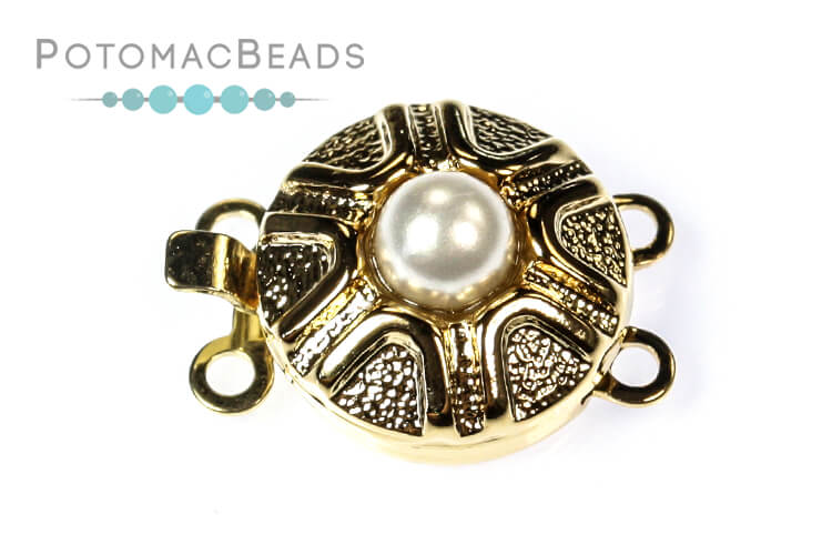Claspgarten Clasp Pearl Zig Zag Box Clasp 2-loop Gold (23kt Gold Plated)