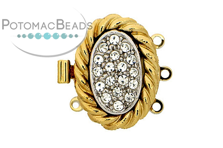 Claspgarten Clasp Coiled Crystal Nest 3-loop Gold (23kt Gold Plated)