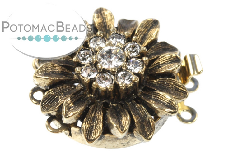 Claspgarten Clasp Crystal Sunflower 3-loop (Antique 23kt Gold Plated)