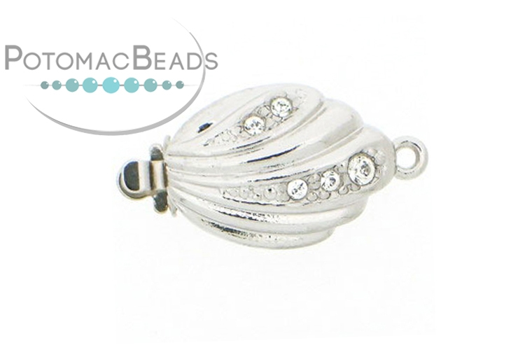 Claspgarten Clasp Crystal Shell 15x11mm Silver (Rhodium Plated)