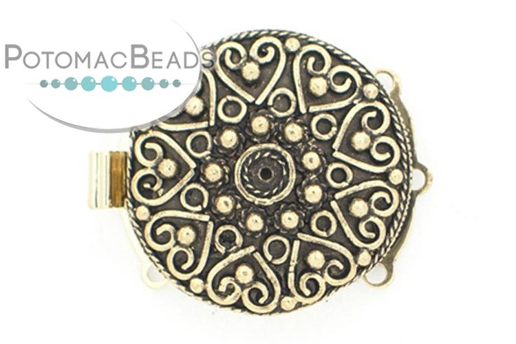 Claspgarten Clasp Heart Filigree 26.5mm 3-loop (Antique 23kt Gold Plated)