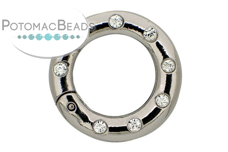 Claspgarten Clasp Twist Ring with Crystals 25mm Silver (Rhodium Plated)