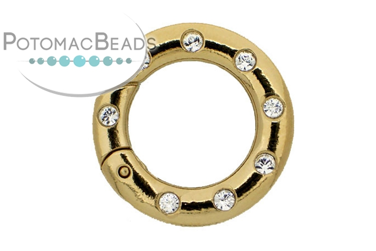 Claspgarten Clasp Twist Ring with Crystals 25mm Gold (23kt Gold Plated)