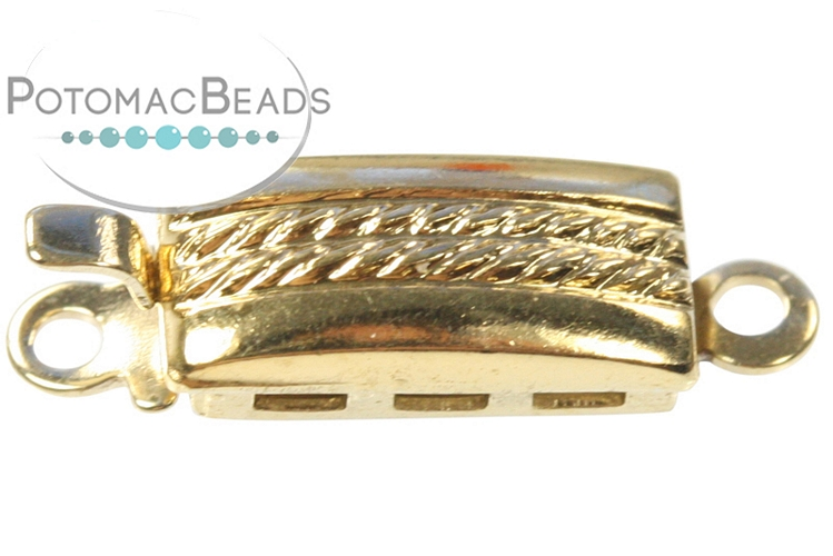 Claspgarten Clasp Braided Rectangle 5x9.5mm 1-loop Gold (23kt Gold Plated)