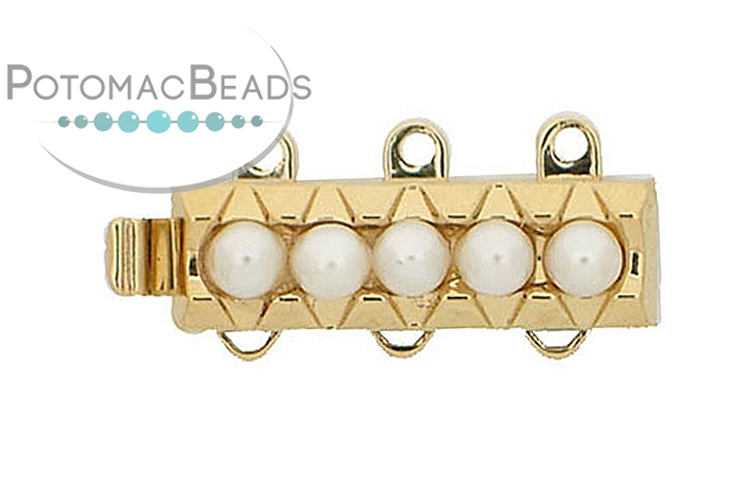 Claspgarten Clasp Pearl Basket Rectangle 18.5x6mm 3-loop Gold (23kt Gold Plated)