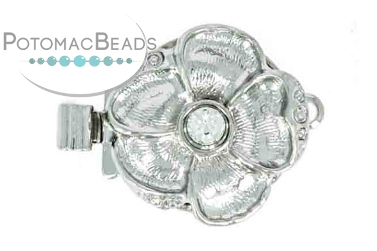Claspgarten Clasp 5 Petal Flower with Crystal Silver (Rhodium Plated)