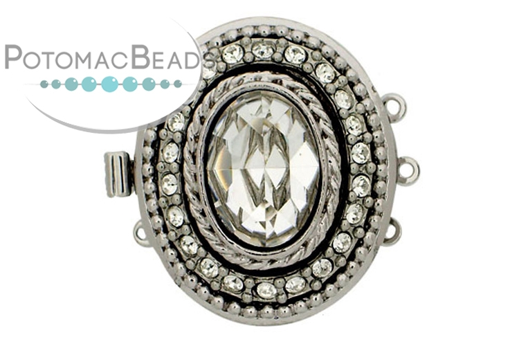 Claspgarten Clasp Elegant Oval with Crystals 24x29mm 3-loop Silver (Rhodium Plated)