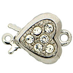 Claspgarten Clasp Crystal Heart 10mm Silver (Rhodium Plated)