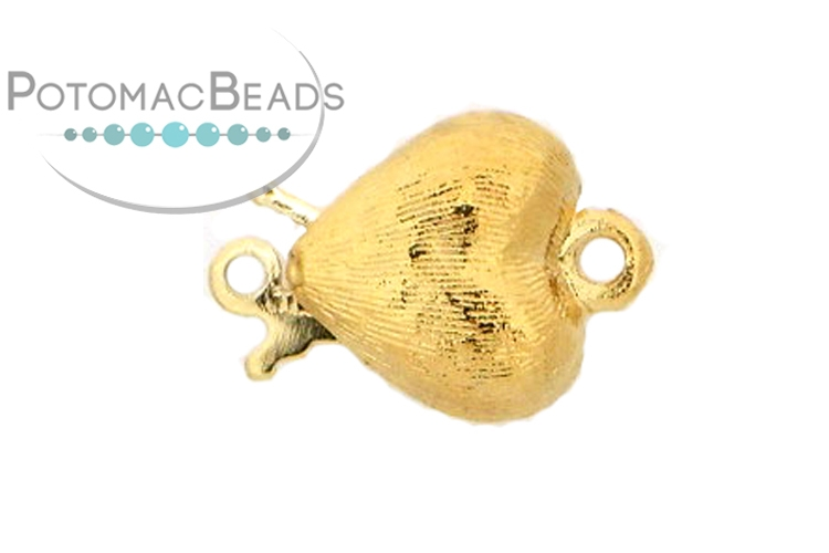 Claspgarten Clasp Brushed Heart 10mm Gold (23kt Gold Plated)